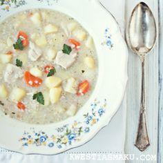 Krupnik : A delicious Polish Creamy Chicken & barley soup, barley soup recipe Healthy Soup Recipes, Baby Food Recipes, Polish Recipes, Polish Food, Chicken Barley Soup, Kinds Of Soup, My Cookbook, Creamy Chicken, Kitchens