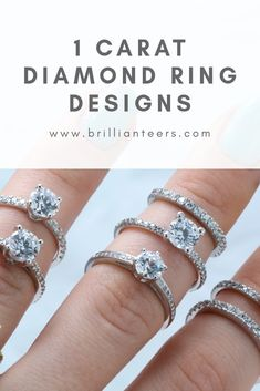 Looking for 1 Carat Engagement Ring Designs? From Solitaire, accented, to halo, find all of our best-selling 1 Carat Ring designs at www.brillianteers.com. H Color Diamond, Diamond Sizes, Diamond Cuts, 1 Carat Engagement Rings, Designer Engagement Rings, 1 Carat Diamond Ring, Wedding Jewelry, Wedding Rings, Ring Designs