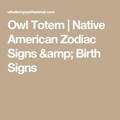 Owl Totem   Native American Zodiac Signs & Birth Signs