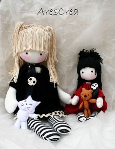 Nicole and Sophie #handmade #dolls by AresCrea. Please come and visit our FB page Thank you!! <3