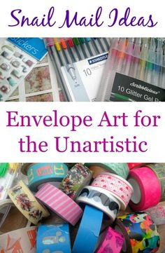 Snail Mail Ideas Envelope Art for the Unartistic - washi tape, pens, stickers and stampers mean you don't have to be great at art to pretty up your happy mail envelopes!