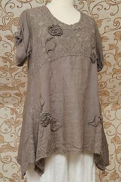 Gorgeous Mocha Brown Linen Tunic Very Quirky Design Italian Lagenlook Top OSFA | eBay: