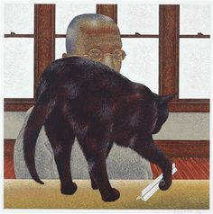 Artwork by Alex Colville, Black Cat, Made of colour silkscreen on paper