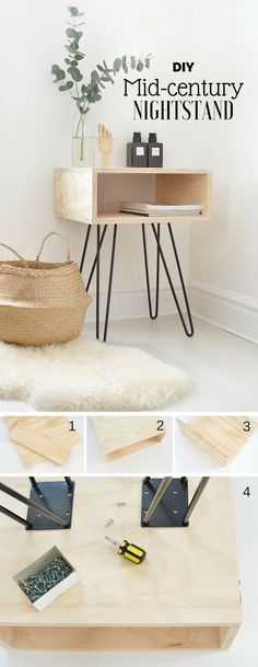 Check Out How To Make This Easy DIY Mid Century Nightstand @istandarddesign  ähnliche Tolle
