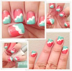 Coral and Turquoise Nails. . . .Nail Art, but instead of white, gold glitter?