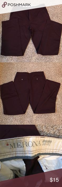 Merona maroon Men's pants size 36 x 32 These are a Target brand men's pants size 36 x 32 in a deep maroon color.  They were worn once and now my husband cannot fit into them.  Excellent condition.  100% cotton Merona Pants Chinos & Khakis