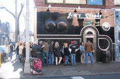 Jim's Steaks on South Street in Philadelphia, PA. - Where it looks like a Black Friday Sale every night.