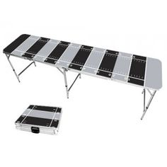 Gray & Black Football Field 8 Foot Portable Folding Tailgate Beer Pong Table from TailgateGiant.com