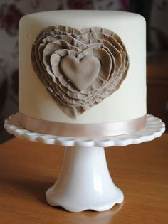 Ruffled Love Heart By MyBigFatCake on CakeCentral.com