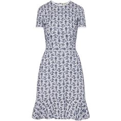 MICHAEL MICHAEL KORS Floral Eyelet Embroiderd Dress ❤ liked on Polyvore featuring dresses, floral dresses, white embroidery dress, see through dress, blue and white floral dress and embroidered dress