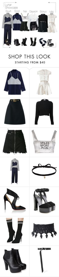 """""""Lunar (루나) Showcase"""" by lunar-official ❤ liked on Polyvore featuring Jacquemus, Marina Hoermanseder, Gucci, Moschino, County Of Milan, VFiles, Kenzo, Alexander Wang, Joomi Lim and Christian Louboutin"""