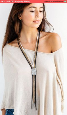 Statement necklace Leather necklace Long by danielapalatnik