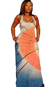 17bed5bbdb HAWEE Women s Boho Sleeveless Tie-Dye Maxi Dress Tank Dress Long Summer  Dresses