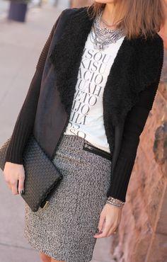 Graphic tee + tweed skirt