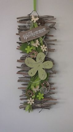 Door wreath door decoration welcome wall hanging felt flower spring in furniture Diy Projects For The Home Decoration Door Felt Flower Furniture hanging Spring wall WREATH Twig Crafts, Diy And Crafts, Simple Crafts, Clay Crafts, Felt Crafts, Wood Crafts, Paper Crafts, Deco Floral, Spring Design