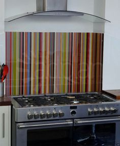 Striped Glass Splashback to fit any size Hob, Range Cooker Cooker or Aga