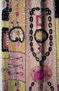 FUNNY! Evening dress by Emilio Pucci. Fall/winter 1964-1965. Sequins and bead embroidery on a silk print...