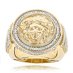 This sleek gold diamond mens Versace Style ring with Medusa weighs approximately 16 grams and showcases carats of sparkling round diamonds. Featuring a highly polished gold finish, this magnificent Versace Style diamond ring is a true beauty.