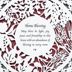 This elegant fine art laser-cut wall hanging celebrates HOME. Home is where your heart is. You feel most comfortable in your home. You are blessed to have a roof over your head, food to eat and family to love. Wouldn't it be nice to have a personalized piece of art on the wall in your home to remind you every day of your blessing? With only paper and a special artist's cutting tool, I create a unique work of art for the wall, featuring a traditional Jewish blessing for the home, delicately…