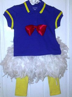 Donald Duck DIY Costume: George shirt, yellow ribbon, red satin fabric for bow, leggings from Old Navy, 2 feather boas, 1 pair of sweat pants cut $25 and 2 hrs to make