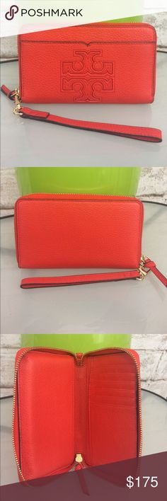 Tory Burch Clutch NWOT Tory Burch clutch/wallet. Orange Leather with gold zipper. Never been used. Tory Burch Bags Clutches & Wristlets
