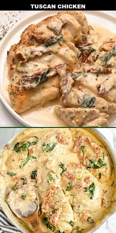 This creamy Tuscan chicken recipe is an easy, one-pan dinner. The sauce is loaded with cream, sun-dried tomatoes, spinach, and garlic. It's full of Italian flavors that will make you feel like you've been transported to Tuscany. Creamy Tuscan Chicken Recipe, Creamy Sauce For Chicken, Tuscan Chicken Pasta, Creamy Italian Chicken, Recipe Using Chicken, Creamy Garlic Sauce, Italian Chicken Recipes, Creamy Garlic Chicken, Artichoke Chicken