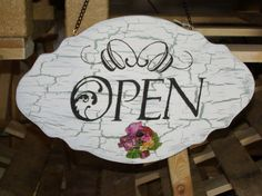 """a Open/Closed sign """"shabby Chic"""" with a crackle finish, and decoupaged flowers."""