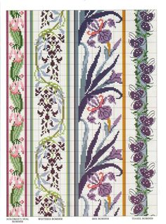 "Photo from album ""Cross Stitch Art Nouveau"" on Yandex. Cross Stitch Art, Cross Stitch Borders, Cross Stitch Flowers, Cross Stitch Designs, Cross Stitching, Cross Stitch Embroidery, Cross Stitch Patterns, Art Nouveau, Bead Loom Patterns"