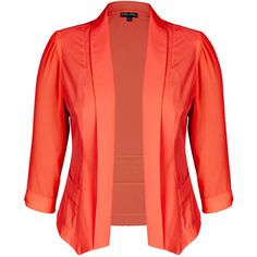 City Chic Drapey Blazer Jacket - Paradise ($79) ❤ liked on Polyvore featuring outerwear, jackets, blazers, red blazer jacket, lightweight jackets, red long jacket, lapel jacket and light weight jacket