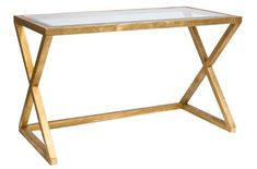 Gold Leaf Desk with Beveled Glass Top