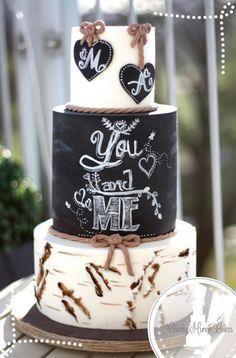 Rustic Birchbark Chalkboard Wedding Cake / www.deerpearlflow… Rustic Birchbark Chalkboard Wedding Cake / www. Chalkboard Wedding, Bolo Chalkboard, Chalkboard Ideas, Country Wedding Cakes, Wedding Cake Rustic, Rustic Cake, Beautiful Cakes, Amazing Cakes, Bolo Fack