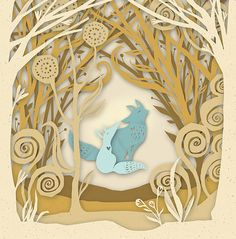Lovely paper illustration by Claire Mojher. Also Chinese cut paper art for more inspiration.