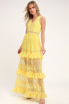 The dress of our dreams is the Lulus Garden Dreams Yellow Lace Tiered Maxi Dress! Woven fabric shapes a sleeveless princess-seamed bodice and V-neckline. Mexican Outfit For Ladies, Yellow Maxi Dress, Mexican Dresses, Yellow Lace, Sweetheart Dress, Lace Maxi, Colored Wedding Dresses, Online Dress Shopping, Large Size Dresses