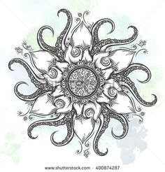 Octopus Decor Trippy Nautical Mandala Made Abstract Art Tentacle and Floral Elements Design Grey White Dining Room Kitchen Rectangular Table Cover Home Decor Mandala Tattoo Design, Dotwork Tattoo Mandala, Octopus Tattoo Design, Octopus Tattoos, Tattoo Designs, Ocean Tattoos, Flower Mandala, Mandala Art, Zentangle