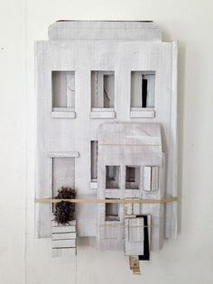 vjeranski: Camilla Engman Building myself a house. Cardboard Sculpture, Cardboard Art, Sculpture Art, Cardboard Houses, Cardboard Relief, Paper Houses, Art Houses, Clay Houses, Built Environment
