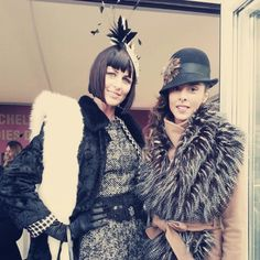 CFW Model Lesley, left,  with Best Dressed Lady Charlotte. Lesley is wearing vintage clothing by Atelier - Mayer and hat by Madeleine Millinery