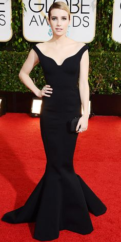 The 2014 Golden Globes: Emma Roberts in a Lanvin gown, Neil Lane jewelry, Jennifer Meyer rings, and Kotur bag