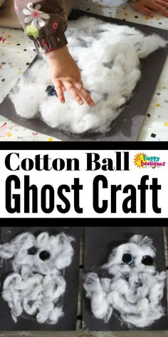 Creative Halloween Costumes - The Best Way To Be Artistic Over A Budget This Adorable Cotton Ball Ghost Craft Is Fun And Easy For Toddlers And Preschoolers To Make. The Cotton Balls And Big Black Buttons Add A Fun Sensory Experience To The Activity. Fun Halloween Games, Halloween Art Projects, Halloween Crafts For Kids, Halloween Themes, Toddler Halloween Activities, Toddler Art, Toddler Crafts, Toddler Preschool, Ghost Crafts