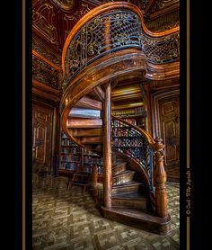 Beautiful spiral staircase at Ervin Szabó Library