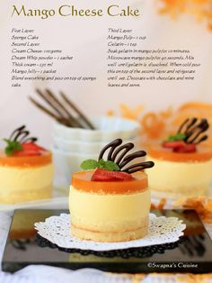 Mango cheese cake recipe a sprinkle of romance мини пирожные Mini Desserts, Mini Cheesecake Recipes, Mango Cheesecake, Individual Desserts, Valentine Desserts, Just Desserts, Delicious Desserts, Dessert Recipes, Yummy Food