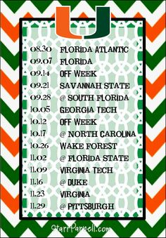Get it for FREE on my Facebook page www.Facebook.com/StarrParnellDesigns   Printable Miami Hurricanes Football Schedule by StarrParnell, $1.00