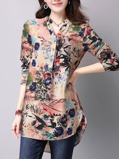 Slit Casual Stand Collar H-line Printed Blouse