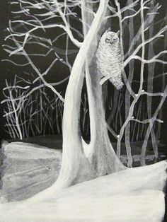 Midwinter Owl   Original Ink Drawing by RavenWoodStudios on Etsy, $85.00
