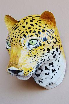 Paper mache leopard head van funghi op Etsy