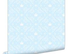 Papel de Parede Coroa Azul com Branco