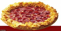Using 'soft cheese technology' Doritos are connected to the outer edges of the Pizza Hut p...
