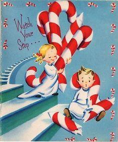 Boy Girl Kids Giant Candy Cane Lane Sweet Treat VTG Christmas Greeting Card
