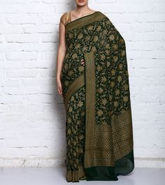 Bottle Green Pure Georgette Embroidered Saree #indianroots #ethnicwear #saree #georgette #embroidered Indus Valley Civilization, Georgette Sarees, Indian Sarees, Every Woman, Ethereal, Harem Pants, Sari, Change, Pure Products