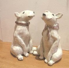 English Bull Terrier Sculptures with Scarves - Jane Adams