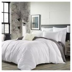 Tailored for a crisp, sharp look, the Courtney Duvet Cover Set from City Scene dresses your bed in sophisticated style. The white duvet is embellished with grey stitching, alternate rows of embroidery and pintucking in chevron stripe formations. Twin Comforter Sets, King Comforter, Duvet Sets, Duvet Cover Sets, Echo Bedding, Queen Duvet, Teen Bedding, White Comforter Bedroom, Modern Comforter Sets